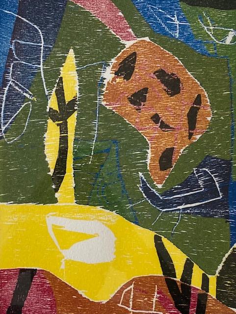 Farve Træsnit 28 x 38 cm Indrammet